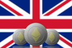 3D ILLUSTRATION drei ETHEREUM cryptocurrency mit Flagge VEREINIGTEN KÖNIGREICHS auf Hintergrund vektor abbildung