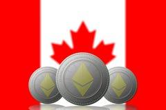 3D ILLUSTRATION drei ETHEREUM cryptocurrency mit KANADA-Flagge auf Hintergrund lizenzfreie abbildung