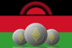 3D ILLUSTRATION drei ETHEREUM cryptocurrency mit Malawi-Flagge auf Hintergrund lizenzfreie abbildung