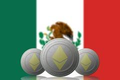 3D ILLUSTRATION drei ETHEREUM cryptocurrency mit MEXIKO-Flagge auf Hintergrund lizenzfreie abbildung
