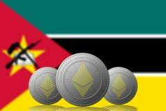 3D ILLUSTRATION drei ETHEREUM cryptocurrency mit Mosambik-Flagge auf Hintergrund lizenzfreie abbildung