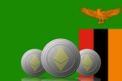 3D ILLUSTRATION drei ETHEREUM cryptocurrency mit Sambiaflagge auf Hintergrund stock abbildung