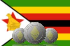 3D ILLUSTRATION drei ETHEREUM cryptocurrency mit Simbabwe-Flagge auf Hintergrund lizenzfreie abbildung