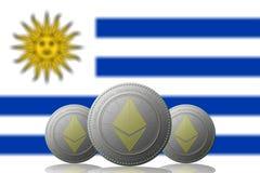 3D ILLUSTRATION drei ETHEREUM cryptocurrency mit Uruguay-Flagge auf Hintergrund stock abbildung