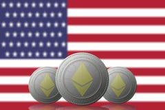 3D ILLUSTRATION drei ETHEREUM cryptocurrency mit USA-Flagge auf Hintergrund stock abbildung