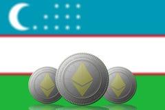 3D ILLUSTRATION drei ETHEREUM cryptocurrency mit Usbekistan-Flagge auf Hintergrund stock abbildung