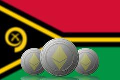 3D ILLUSTRATION drei ETHEREUM cryptocurrency mit Vanuatu-Flagge auf Hintergrund vektor abbildung