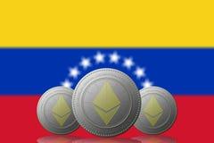 3D ILLUSTRATION drei ETHEREUM cryptocurrency mit VENEZUELA-Flagge auf Hintergrund stock abbildung