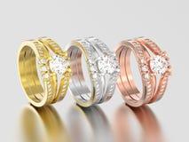 3D Illustration drei färben sich gelb, rosafarben und Weißgold oder Silber zwei Stockfoto