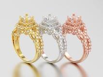 3D Illustration drei färben sich gelb, Rosafarbene und Weißgold elegantes solita Lizenzfreie Stockfotografie