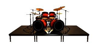 3D Rendering Drums Set on White Stock Photography