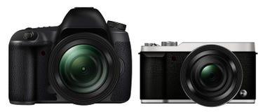 3D illustration DSLR Camera vs Mirrorless Camera. Isolated on white background Stock Photo