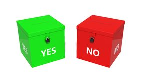 3d illustration of dual vote box. Stock Image