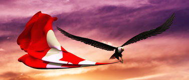 3d illustration of eagle and flag floating in the wind Royalty Free Stock Image