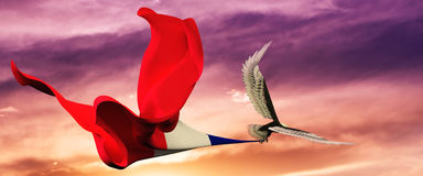 3d illustration of eagle and flag floating in the wind Royalty Free Stock Photo