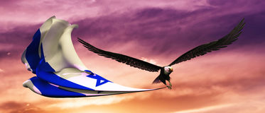 3d illustration of eagle and flag floating in the wind Stock Photo