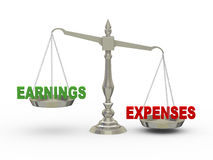 Earnings and expenses on scale. 3d illustration of earnings and expenses on scale Stock Photos