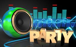 3d spectrum party sign. 3d illustration of earth globe speaker over sound wave black background with party sign Royalty Free Stock Photography