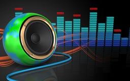 3d blank spectrum. 3d illustration of earth globe speaker over sound wave orange background Royalty Free Stock Photography