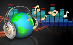 3d spectrum spectrum. 3d illustration of earth in headphones over sound wave orange background with notes Stock Photography