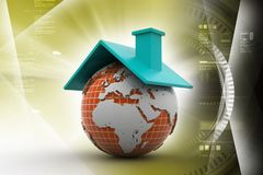 Earth with roof. 3d illustration of Earth with roof Royalty Free Stock Images