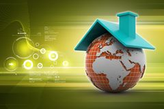 Earth with roof. 3d illustration of Earth with roof Stock Photo