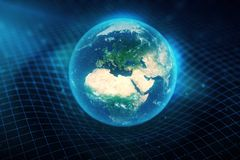 3D illustration Earth`s gravity bends space around it. With bokeh effect. Concept gravity deforms space time grid around Stock Photo