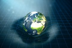 3D illustration Earth`s gravity bends space around it. With bokeh effect. Concept gravity deforms space time grid around