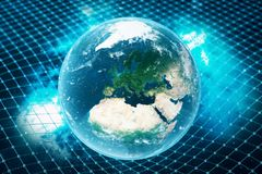 3D illustration Earth`s gravity bends space around it. With bokeh effect. Concept gravity deforms space time grid around Stock Images
