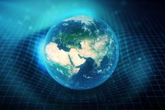 3D illustration Earth`s gravity bends space around it. With bokeh effect. Concept gravity deforms space time grid around Royalty Free Stock Photos