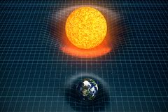 3D illustration Earth`s and Sun gravity bends space around it. With bokeh effect. Concept gravity deforms space time