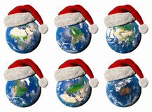 3D illustration of the Earth with a Santa hat. 3D illustrations of the Earth with different continents wearing a Santa hat Royalty Free Stock Photography