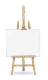 3D illustration of easel with canvas. 3D illustration of wood easel supporting blank canvas Royalty Free Stock Images