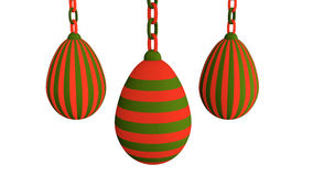 3d-illustration, Easter eggs hanging on a chain. Striped Easter eggs on white background royalty free illustration