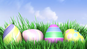 3D illustration of Easter eggs hiding in Fresh Green Grass. Royalty Free Stock Photography