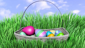 3D illustration of Easter eggs hiding in Fresh Green Grass. Stock Photos