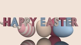 3d-Illustration, Easter eggs. Easter eggs in pastel tones on a reflective surface with text royalty free illustration