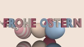 3d-Illustration, Easter eggs in pastel tones. Easter eggs in pastel tones on a reflective surface with text in German royalty free illustration