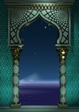 Eastern ancient Arab arch night Eastern ancient Arab arch night. 3d illustration. Eastern arch of the mosaic at night . Carved architecture and classic columns royalty free illustration