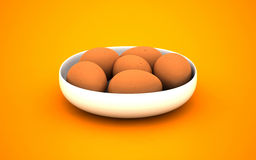 3d illustration of eggs on a white plate Stock Photos