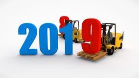 D-Illustration eines Gabelstaplers, der das Datum 2019 hält und 2018 und 2020 wegnimmt Transportzeit Idee für Kalender, 3D ren stock abbildung