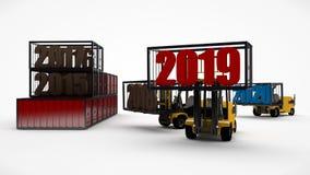 D-Illustration eines Gabelstaplers, der das Datum 2019 hält und 2018 und 2020 wegnimmt Transportzeit Idee für Kalender, 3D ren lizenzfreie abbildung