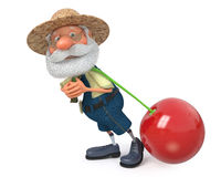 3D illustration the elderly farmer costs with a cherry Stock Photography