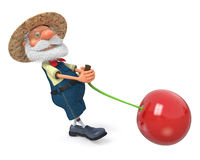 3D illustration the elderly farmer costs with a cherry Royalty Free Stock Image