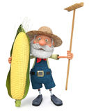 The 3D illustration the elderly farmer costs with corn Royalty Free Stock Image