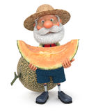 3D illustration the elderly farmer costs with a melon Royalty Free Stock Photos