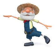 3D illustration the elderly farmer costs outdoors with a smile Royalty Free Stock Photos