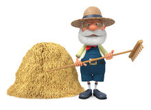 3D illustration the elderly farmer costs outdoors with a smile Stock Photos