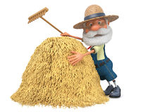 3D illustration the elderly farmer costs outdoors with a smile Stock Photography