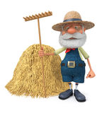 3D illustration the elderly farmer with a smile Royalty Free Stock Photography